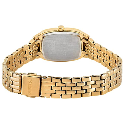 Seiko Gold Plated Rectangular Case Bracelet Watch SRZ474P1