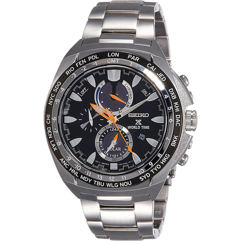 Seiko Men's Chronograph World Time Solar Powered Watch  SSC487P1