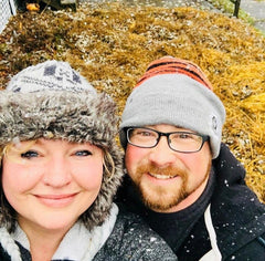 Rebecca and justin in a light snow