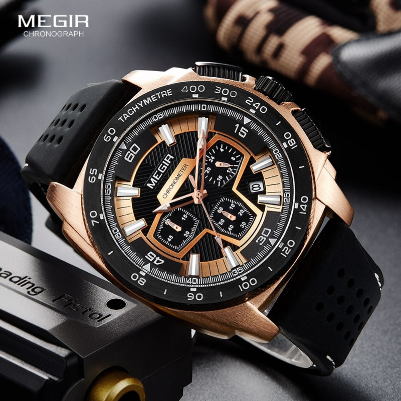 Megir Males Mens Chronograph Sport Watch