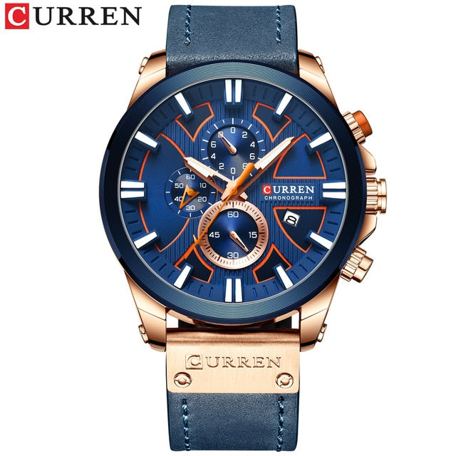 Chronograph Clock Men Leather Watch