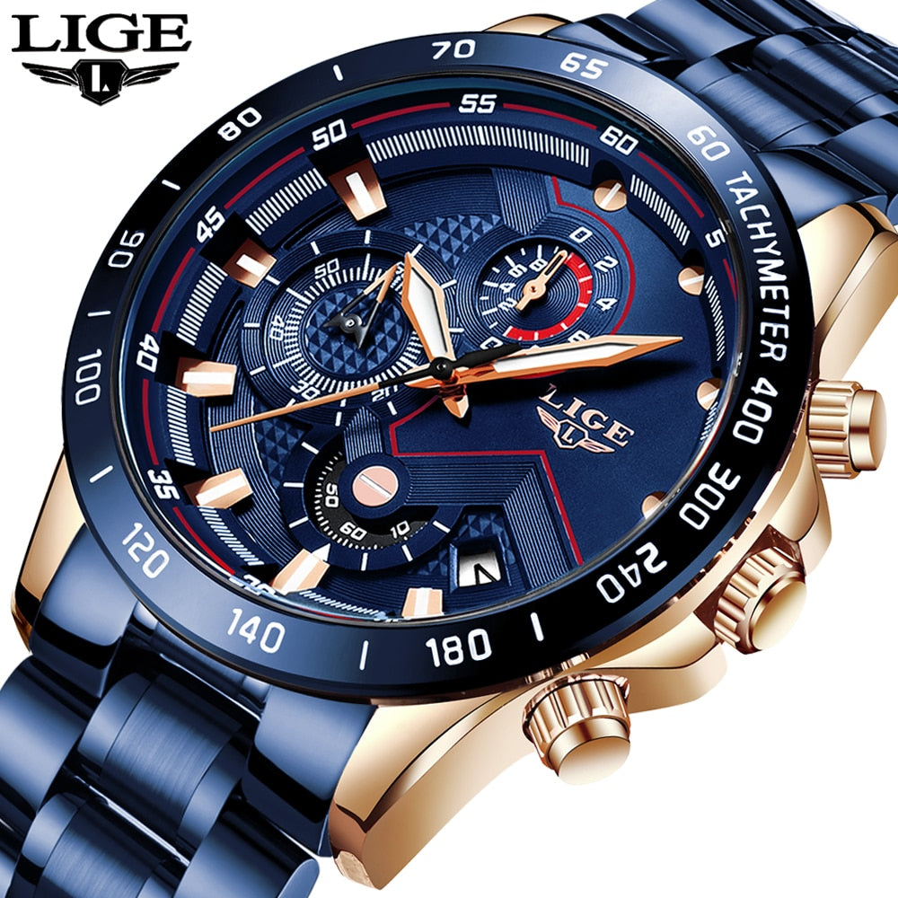 LIGE Fashion Mens Watch