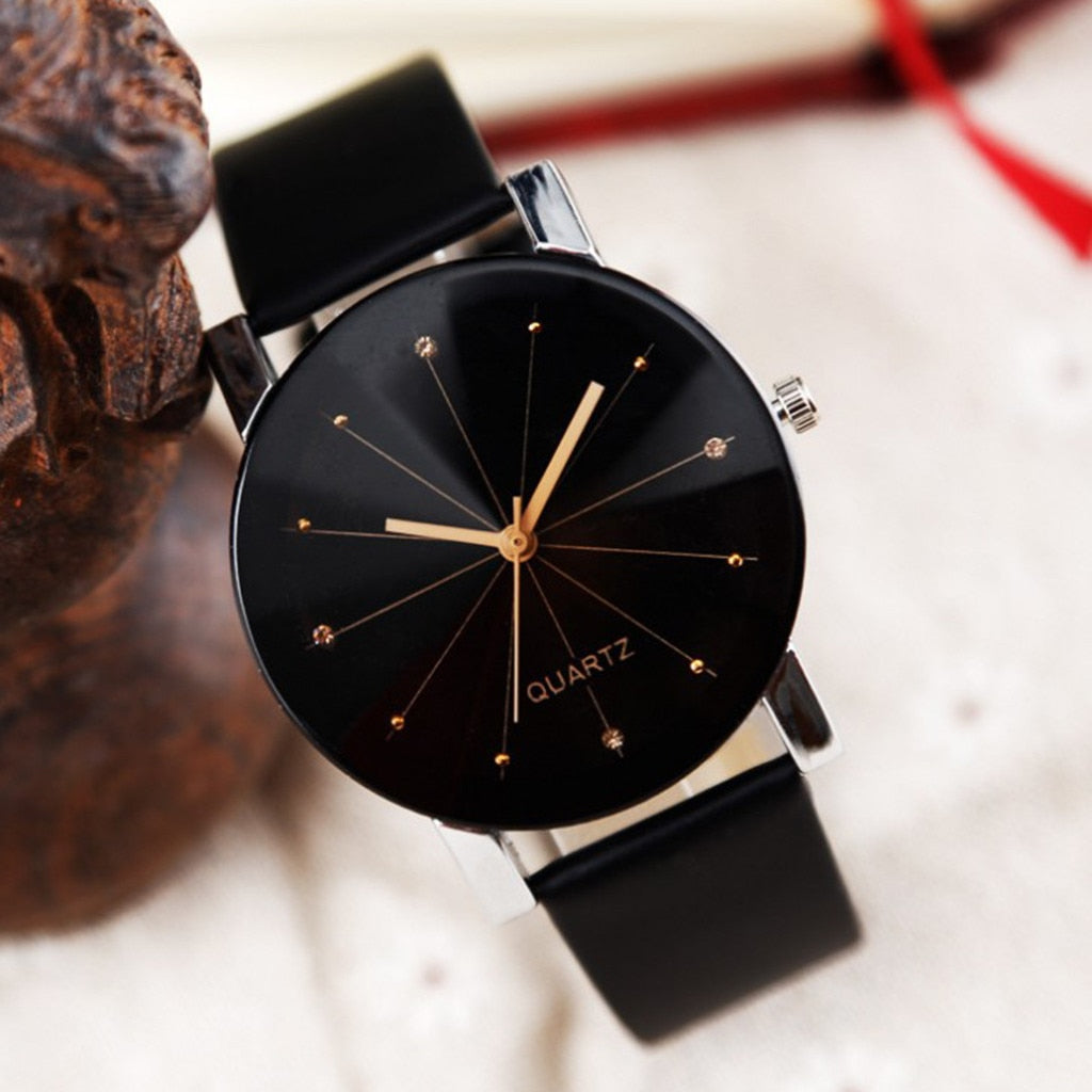 Leather Strap Line Analog Quartz Ladies Wrist Watch