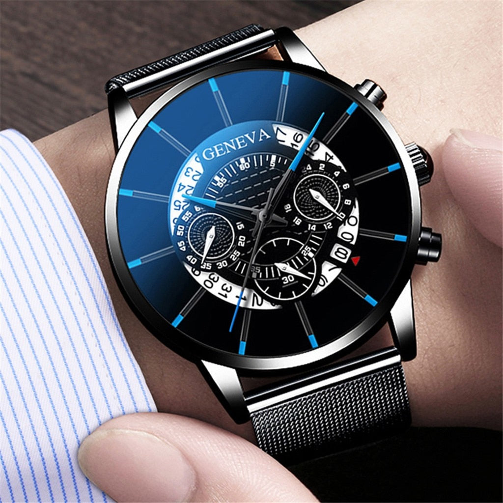 Unique Digital Literal Multi Layer Dial Men Quartz Mesh