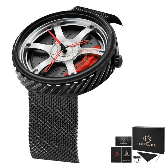 BOYADKA Men Sport Car Wheel Watch