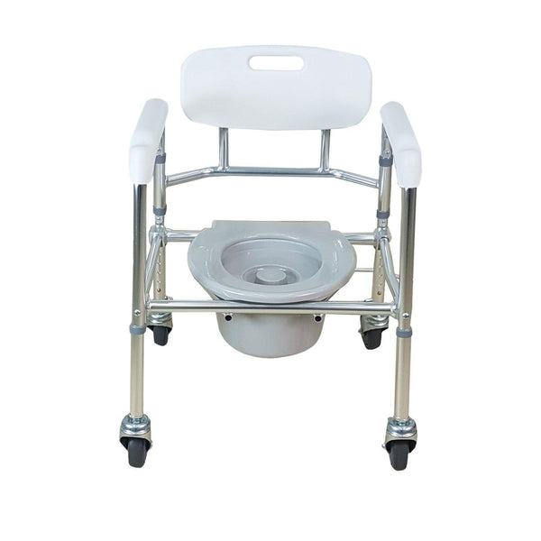 Aluminum Foldable Height Adjustable Mobile Commode