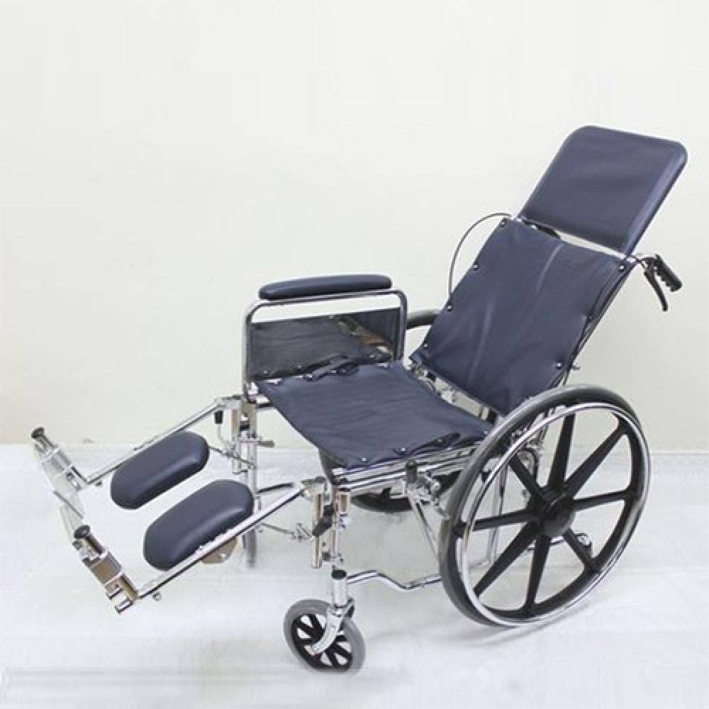 Chrome Recliner Wheelchair with Anti Tipper with Safety Belt - Lifeline Corporation