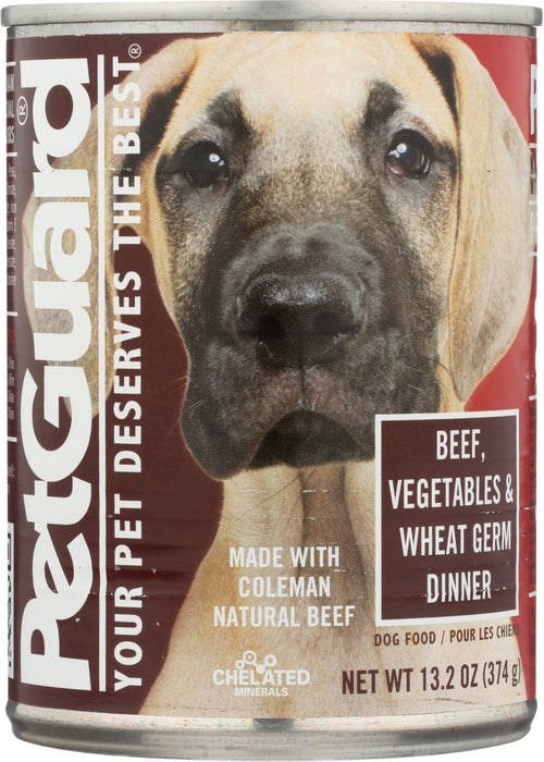 PETGUARD: Beef, Vegetables and Wheat Germ Dinner Canned Dog Food, 13.2 oz
