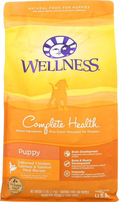 WELLNESS: Chicken Salmon and Oatmeal Natural Dry Puppy Food, 5 lb