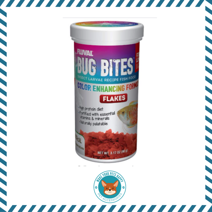 Fluval Bug Bites Color Enhancing Fish Food for Tropical Fish, Flakes for Small to Medium Sized Fish, 3.17 oz., A7348, Brown
