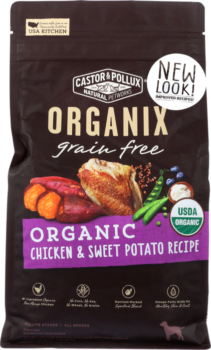 CASTOR & POLLUX: Organix Grain Free Organic Chicken & Sweet Potato Recipe 4 Lb