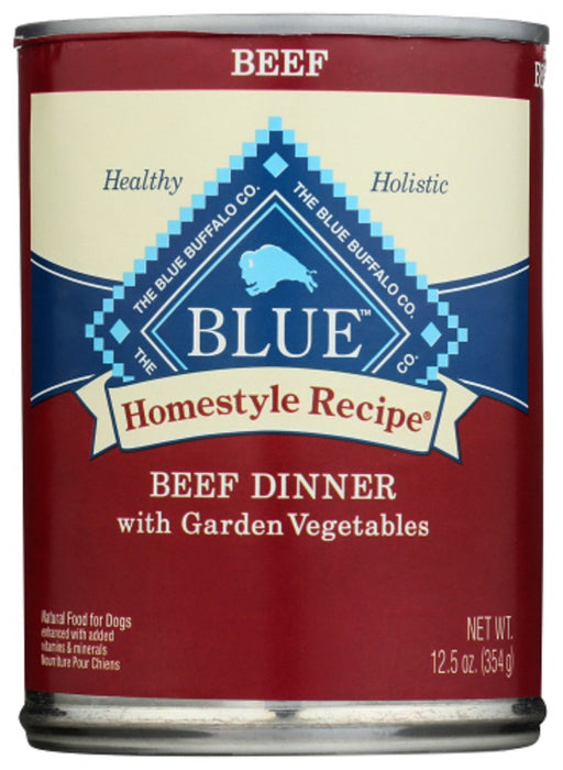 BLUE BUFFALO: Homestyle Recipe Adult Dog Food Beef Dinner with Garden Vegetables, 12.50 oz