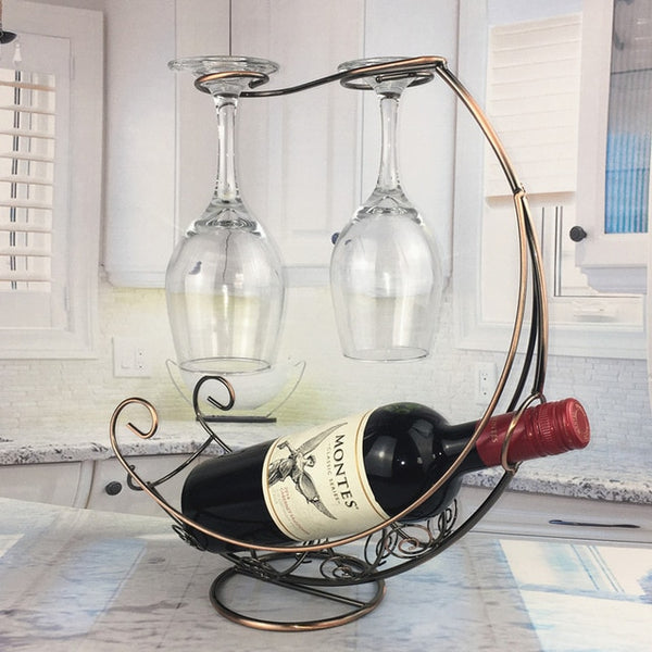 Creative Metal Wine Rack Hanging Wine Glass Holder Bar Stand Bracket Decor