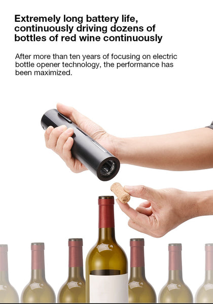 Automatic Electric Wine Opener Rechargeable with Foil Cutter and USB Cable, Black