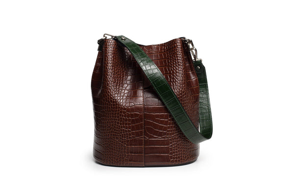 MALA ''SHOULDER BAG'' CROCO CASTANHO