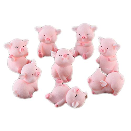 8pcs Miniature Pig Figurines, Cute Piggy Toy Figures Cake Toppers Fairy Garden Dollhouse Bonsai Micro Landscape Christmas Decor