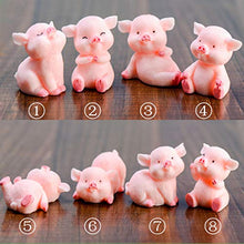 Load image into Gallery viewer, 8pcs Miniature Pig Figurines, Cute Piggy Toy Figures Cake Toppers Fairy Garden Dollhouse Bonsai Micro Landscape Christmas Decor