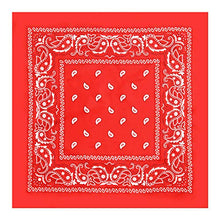 Load image into Gallery viewer, Bandana Handkerchief - Large/Jumbo Paisley Cowboy Bandana for Men & Women - Head & Face Wrap Scarf - 1 Pack Red