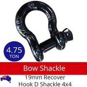 4.75T Rated Bow Shackle 19mm Recovery Hook D Bow Shackle 4x4 Car Tow Trailer BRAUMACH Auto Parts & Accessories