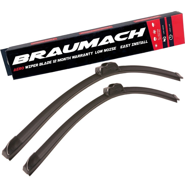 Wiper Blades Aero Nissan Navara (For D23, NP300) UTE 2015-2017 FRONT PAIR BRAUMACH Auto Parts & Accessories