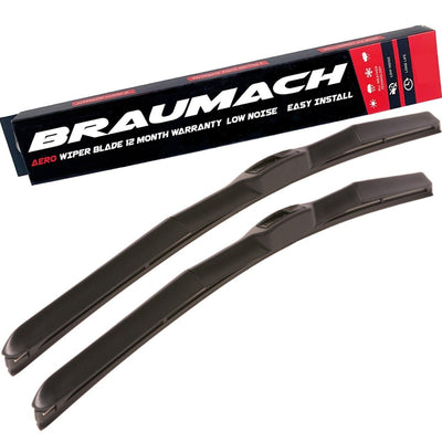 Wiper Blades Hybrid Aero Mitsubishi Triton (For MQ) UTE 2015-2017 FRONT PAIR BRAUMACH Auto Parts & Accessories