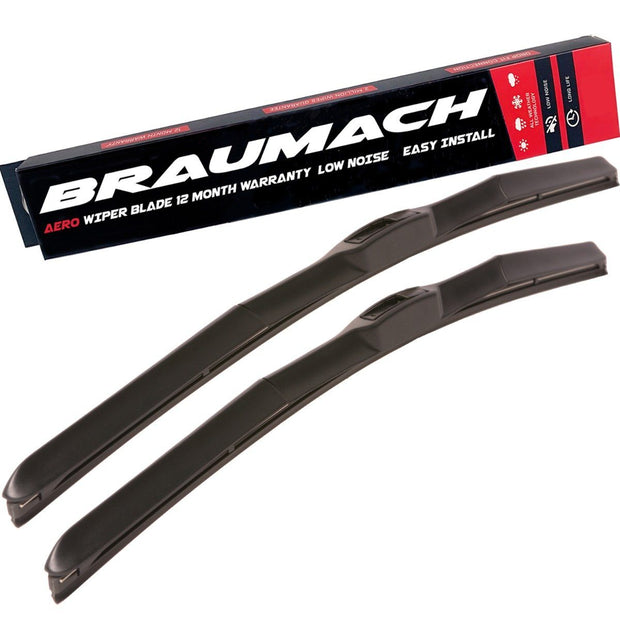 Wiper Blades Hybrid Aero Nissan Patrol (For GU Series 4) SUV 2004-2007 FRONT PAIR BRAUMACH Auto Parts & Accessories