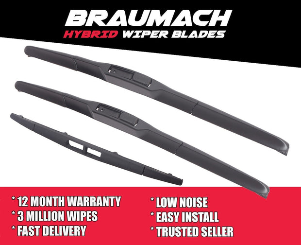 Wiper Blades Hybrid Aero Peugeot 4007 (For I3) SUV 2009-2016 FRONT PAIR & REAR BRAUMACH Auto Parts & Accessories