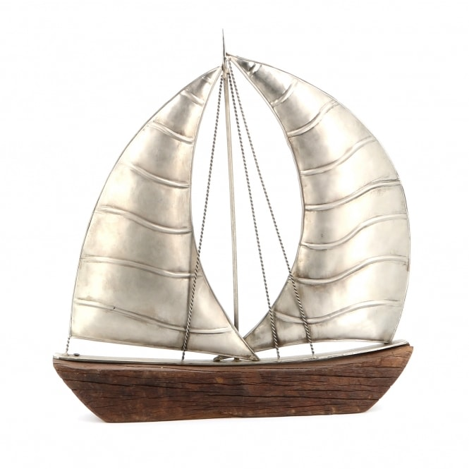 Reclaimed Wooden Double Sail Boat