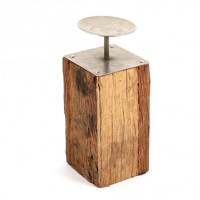 Reclaimed Wood Floor Candlestand