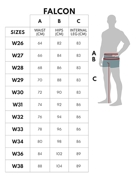 Sizing guide for racered riding jeans
