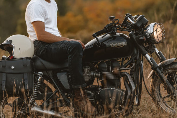Man wearing Racered jeans for daily use on a motorcycle