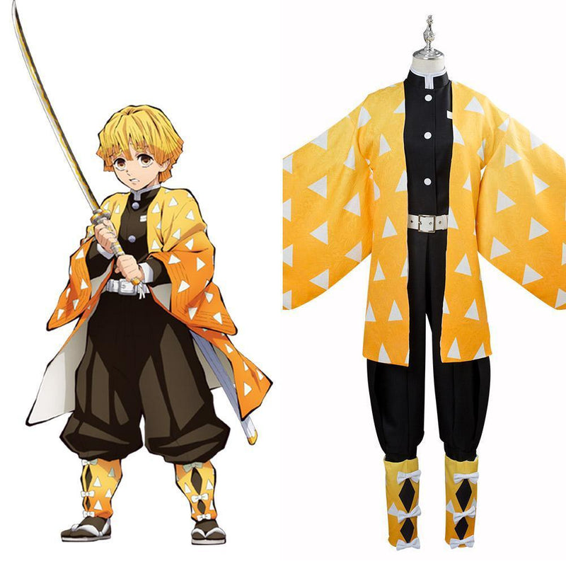 Blade Of Demon Destruction Agatsuma Zenitsu Outfit Cosplay Costume