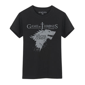 Game Of Thrones Winter Is Coming Stark Black T Shirt Men Ver
