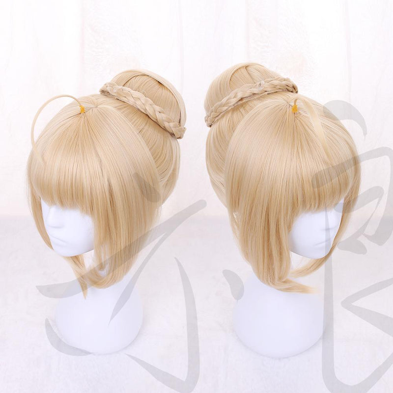 Fate Apocrypha Fa Saber Golden Wig Cosplay Wig