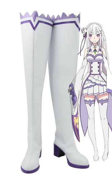 Re Zero Life In A Different World From Zero Emilia Cosplay Shoes