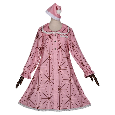 Demon Slayer Kamado Nezuko Pajamas Dress Hat Outfit Cosplay Costume