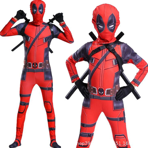 Movie Quality Kids Costume Adult Superhero Spandex Suit Party Halloween Cosplay Costume outfit deadpool With Swords Gloves Accessories