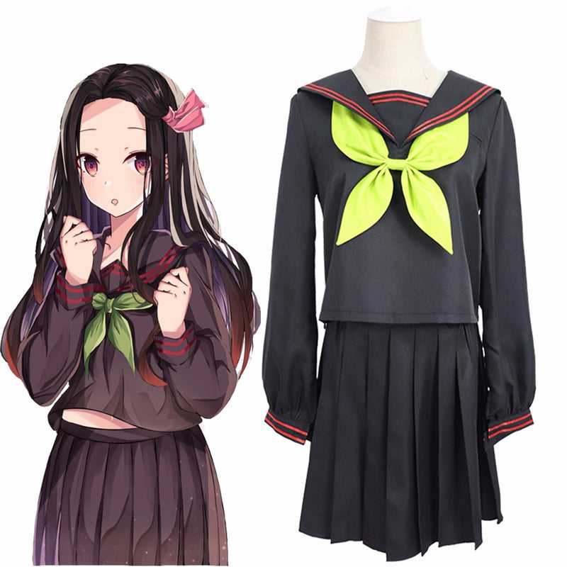Demon Slayer Nezuko Kamado Sailor Uniform Female Girls Cosplay Costume