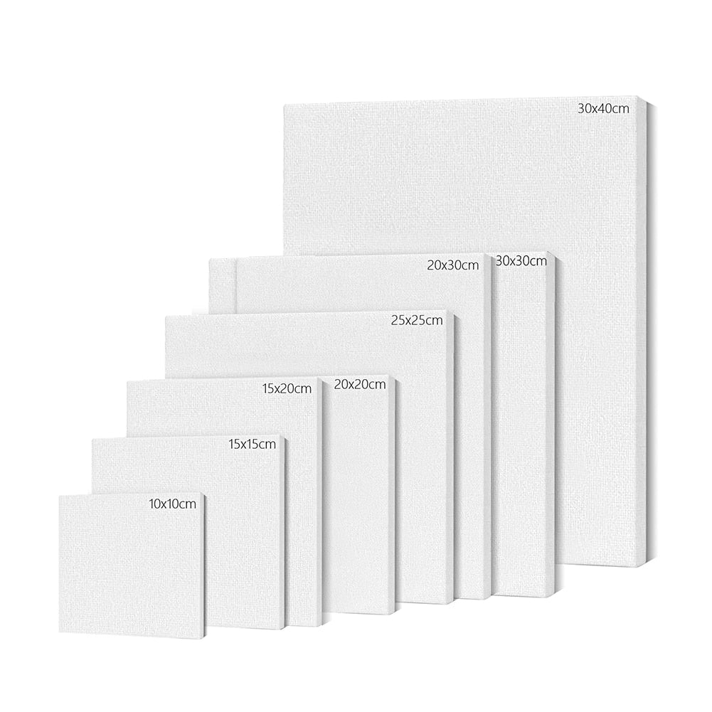 6Pcs White Canvas Art Board with Frame