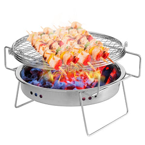 LIXADA Outdoor Stainless Steel Grill Portable Barbecue Grid Mini Round Charcoal Folding BBQ Grill Outdoor Camping Picnic Tool