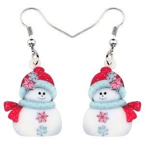Acrylic Christmas Snowman Decoration Earrings