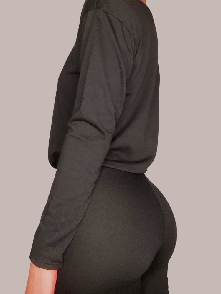 Basic Black Long-Sleeve and Body Hugging Leggings