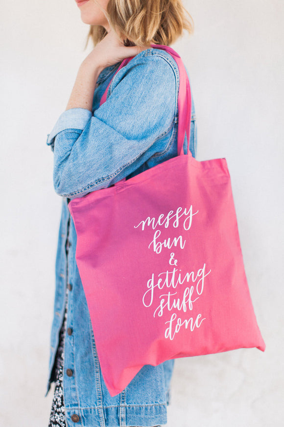 Messy Bun Shopping Tote Bag