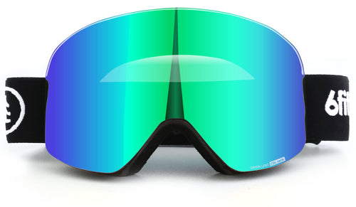 6fiftyfive Green Unisex Orion Lens Frameless Magnetic Ski Goggles