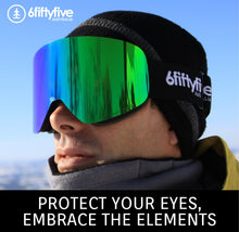 Load image into Gallery viewer, 6fiftyfive | 6fiftyfive frameless ski goggles for men and women - multilayer, magnetic, full REVO - Ice Blue.