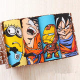 Lots de 4 sous-vêtements type Boxer Homme : Dragon Ball-Naruto-One Piece-Superman-Ironman