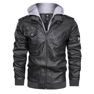 HOODED LEATHER JACKET (3 COLORS)