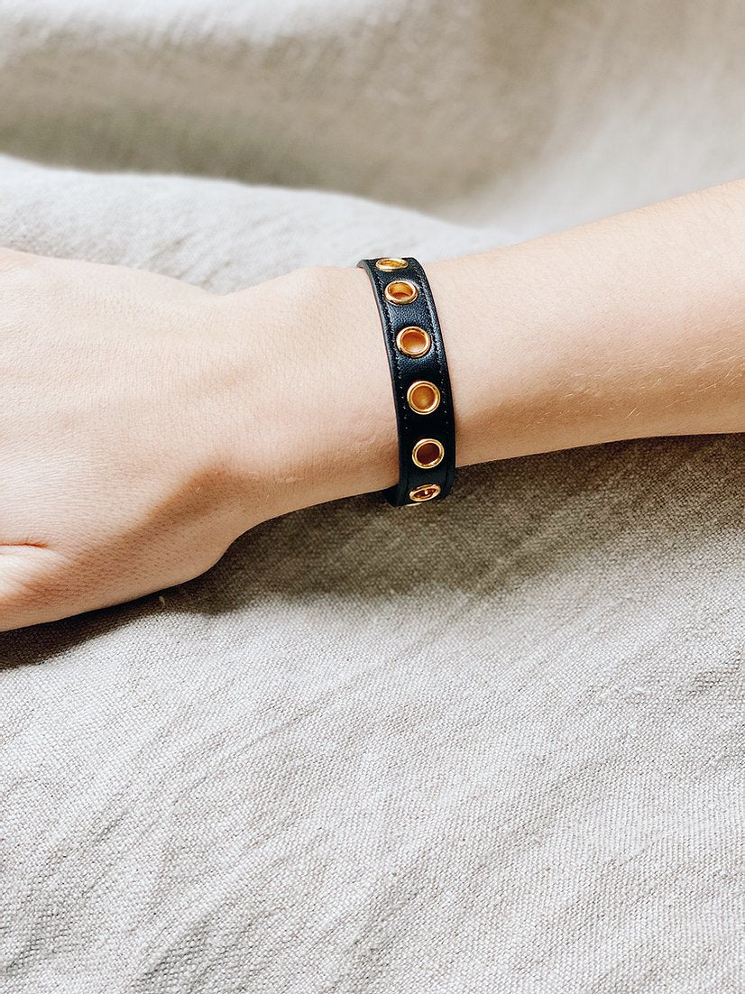 Bracelet simple tour Cycle Noir, sans soie