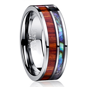 8MM wide tungsten steel ring with polished wood grain men's wedding rings