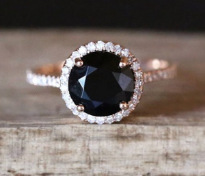 Wish new inlaid natural black gemstone plated rose gold ring European and American micro-studded diamond hand jewelry